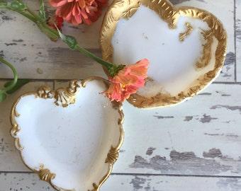 Antique Dithridge Milk Glass Trinket Dishes - Heart - EAPG - Gold Trim