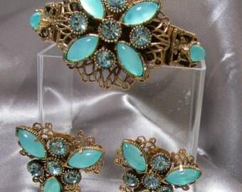 Vintage Selro Clamper Bracelet Earring Set