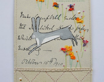 ARTWORK - original - mixed media - hand embroidered 1910 Scottish letter - Hare and flowers