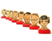 Vintage Head of the Class Game Pieces • Wood Head Cutout Game Pieces