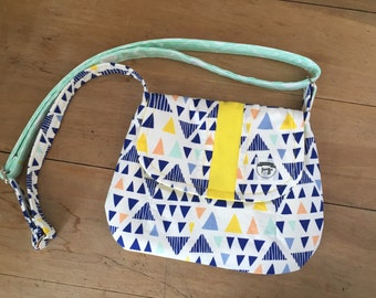 Mini Crossbody Bag- Triangles- Small Purse- Handmade- Women- Blue- Yellow- Adjustable Strap- KYEbags- Magnetic Snap- Pockets