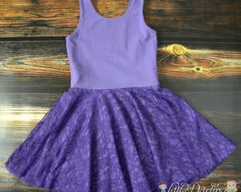 Knit Lace Dress - Flower Girl Dress - Lace Dress - Knit Dress - Purple Dress - Circle Skirt - Twirly Dress - Made To Order