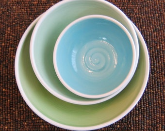 Ceramic Nesting Bowls - Wedding Gift - Stoneware Pottery Serving Bowl Set in Seaside