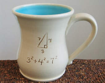 Funny Mug - Incorrect Math Pottery Mug - Large Coffee Mug for Geeks or Teachers in Turquoise Blue Stoneware Ceramic Gag Gift