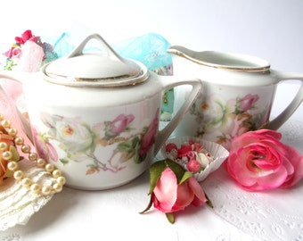 Vintage Cream and Sugar Set German Pink Rose - Weddings Tea Parties Bridal