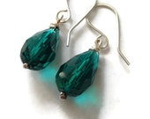 Teal Turquoise Faceted Glass Earrings
