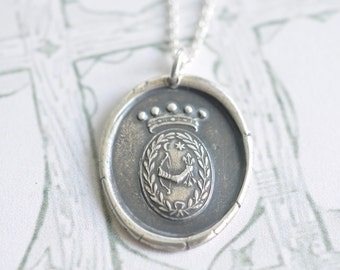 bow and arrow wax seal necklace pendant … power, readiness, triumph - pure silver historical armorial wax seal jewelry
