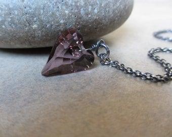 Swarovski Heart Necklace, Plum, Valentines Day, Oxidized Sterling Silver, Purple, Lavender, Irisjewelrydesign