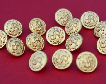 Brass Laurel Leaf Sergeant Buttons - Waterbury Button Company - Collection of 15 - S Monogram