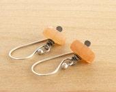 Peach Moonstone Earrings, Sterling Silver, Orange Gemstone, Dangle Earrings, Rustic, Faceted, #4141