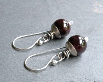 Red Garnet Earrings, Deep Red Gemstone, January Birthstone, Sterling Silver, January Birthday, Dangle Earrings, #4664