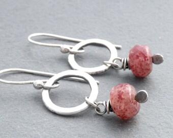 Muscovite Earrings, Pink Stone Earrings, Sterling Silver, Pink Dangle Gemstone Earrings, Pink Stone Boho Earrings,  #4670
