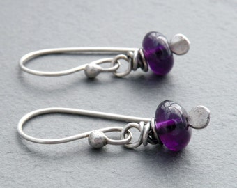 Amethyst Earrings, Purple Earrings, February Birthstone, Minimalist, Sterling Silver, Wire Wrap, #4592