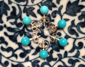 Little round american turquoise stud earrings