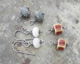 interchangeable earrings, silver dangle earrings, rustic dangle earrings, white stone earrings, blue gray dangle earrings, red earrings