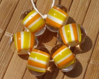 Candy Corn Striped Handmade LAMPWORK Bead Set