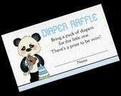 Diaper Raffle Tickets - Diaper Raffle Inserts - Baby Shower Game - Baby Boy - Panda Bear - Blue - Set of 25