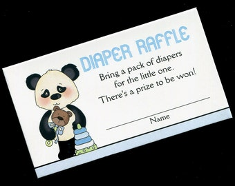 Diaper Raffle Tickets - Diaper Raffle Inserts - Baby Shower Game - Baby Boy - Panda Bear - Blue - Set of 25