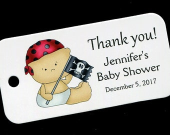 Baby Shower Favor Tags - Personalized Tag - Baby Boy - Gift Tags - Personalized Favor Tags - Thank You Tag - Baby Boy Pirate