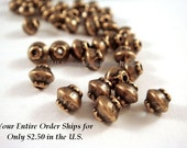 25 Antique Copper Spacer Beads Saucer 4x4mm Plated Alloy LF/CF - 25 pc - M7044-AC25