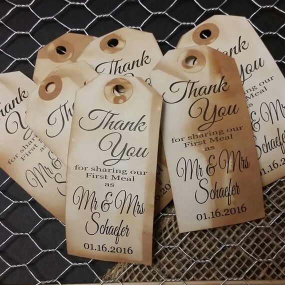 Thank you for Sharing our First Meal 1 3/4 x 3 3/4 Tag Personalize with name and date choose your quantity