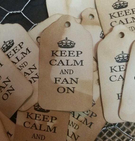 """Keep Calm and Fan On 2"""" Small Favor Tag fan favor"""