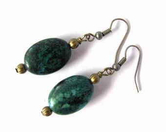 Chrysocolla Gemstone Bead Earrings Wire Wrapped Brass Jewelry by Hendywood