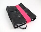 Journal, recycled bicycle inner tube, handmade blank, medium. Neon pink elastic closure