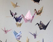 "Reserved for Louise -  16 Large Origami Cranes Mobile - Kimono Furisode Pattern- large 16 cranes folded from 6"" chiyogami paper"
