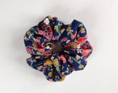 Scrunchie - Kimono Fabric, Japanese Accessory, Japanese Hair Tie, Plum Flower, Ponytail Holder, Japanese Textile, Handmade, Kawaii, Soft