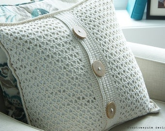 CROCHET PATTERN - Cottage Chic Pillow Cover - Instant Download (PDF)