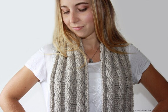 CROCHET PATTERN - Reversible Cable Scarf -  Instant Download (PDF)