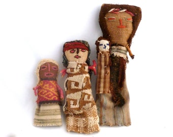 """Peruvian Funerary dolls, 3 dolls reproductions with authentic ancient Chancay fabrics, 9"""", 6"""" and 4"""" Chancay dolls, ancient fabric dolls"""