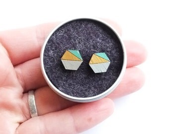 Hexagon wooden earrings bamboo block colour mint grey geometric scandi scandinavian minimalist
