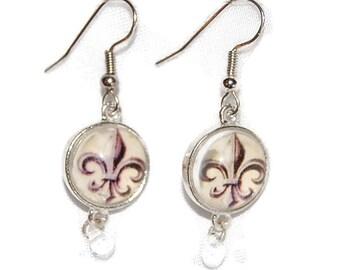 Glass Earrings - Fleur-de-lis Glass Dome Earrings