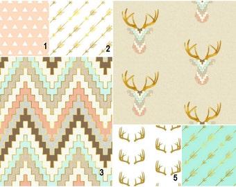 Deers mint blush gold  Custom Modern Crib Bedding set - create your own set