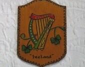 Irish Wood Burned  Plaque . Ireland . burned wood plaque . Irish wood plaque . celtic harp .
