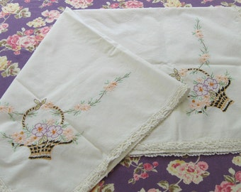 linen table topper . embroidered table topper . flower basket table topper . german table topper