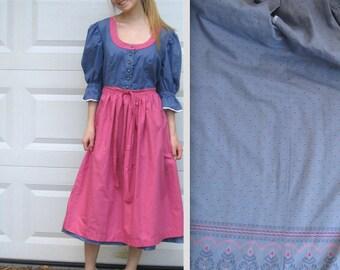 Austrian  Dirndl Dress . Blue and pink dirndl .  dirndl dress .  Austrian Dirndl with apron