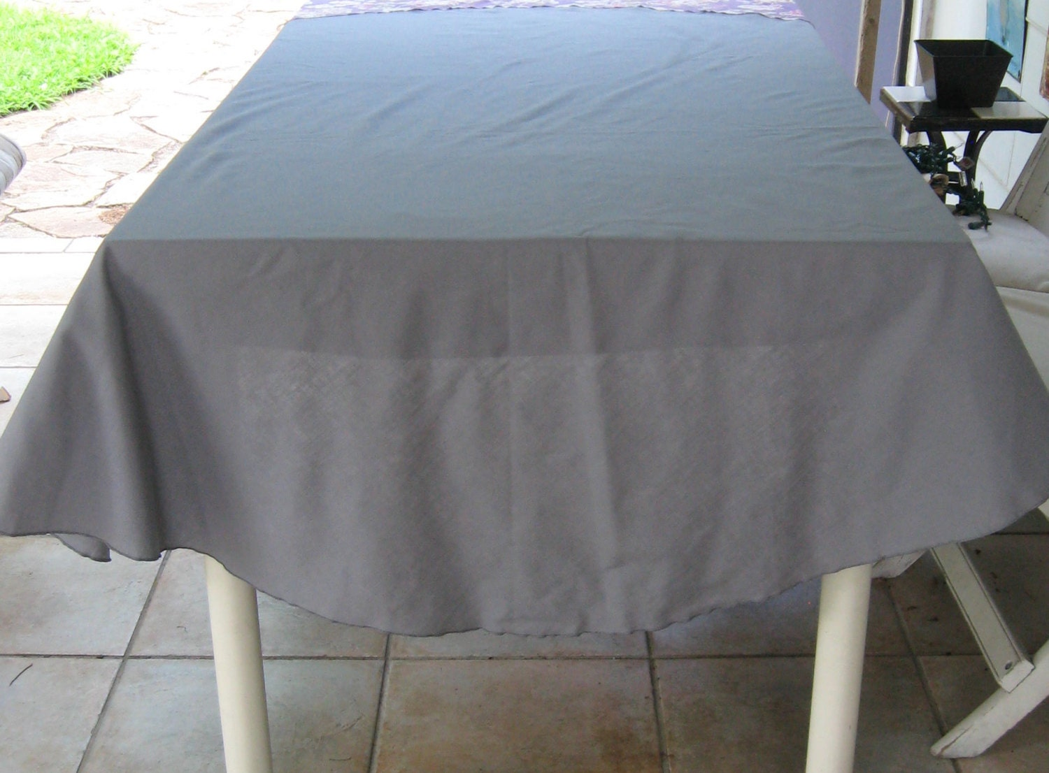 Lovely Details. Fabulous Round Tablecloth In Grey ...