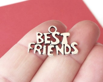 """10 """"Best Friends"""" Charms 15x24x2mm, Hole: 2.5mm"""