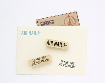 Rubber Stamp Set - Airmail and Thank You Mr. Postman
