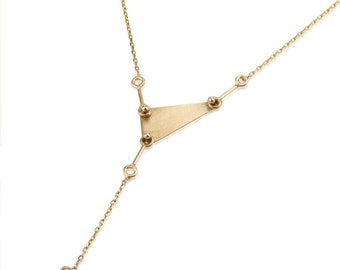 Romy necklace, Three Dots Vertical Triangle Necklace