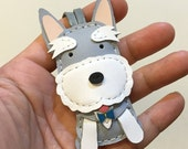 Small size - Kawaii the schnauzer cowhide leather charm ( Grey /White )
