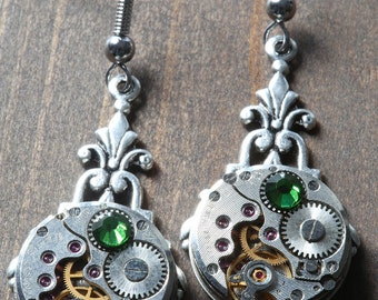 Steampunk Earrings - Fern Green Swarovski Crystal