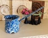 Retro Enamel Ware Blue Dipper Ladle Gravy Swirl Splatter