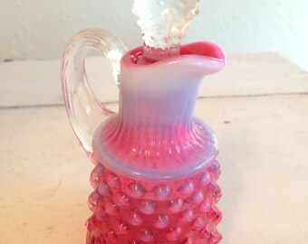 Small Fenton Hobnail Milk Glass Fluted Bud Vase With Ruffled Opening - Art Glass