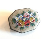 Antique ITALY Mosaic Flower Brooch