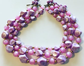 1950's Pink Moonglow and Lilac 3 Strand Necklace
