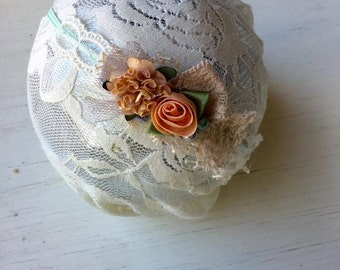 Fall Mint Julep - Mint Blush Pink Cream Peach Lace Headband -  Vintage - Flowers - Girls Newborns Baby Infant Adults